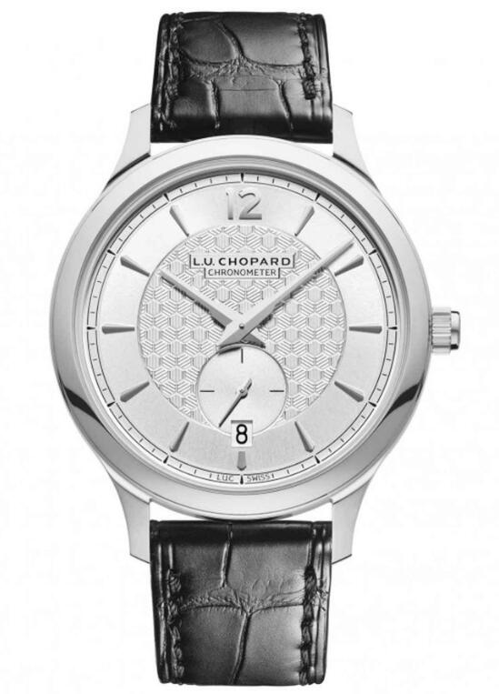 With ultrathin case matching decorating dial which decorating with twisted pattern, this black strap replica Chopard watch completely shows the modern interpretation of a classic masterpiece.
