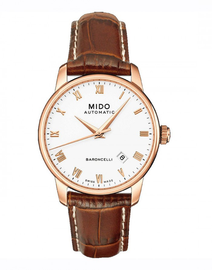 The perfect combination of gold and brown makes this white dial replica Mido watch legant and precious.