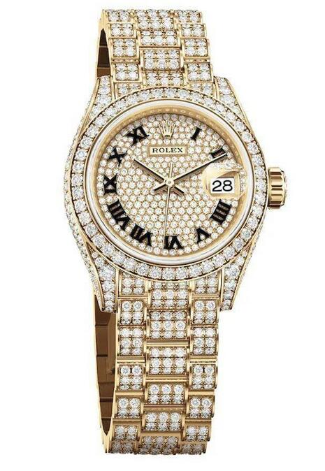 Swiss replica watches are wholly set with diamonds.